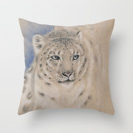 Snow Leopard Ghost Graphite Colored Pencil Drawing Throw Pillow