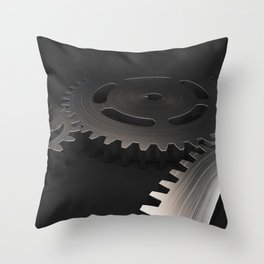 Set of metal gears and cogs on black Throw Pillow