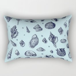 Sea shells pattern in blues Rectangular Pillow