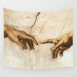 Michelangelo Creation of Adam Hands Wall Tapestry