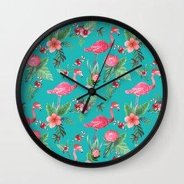 Santa Flamingo Christmas, Holiday Tropical Watercolor Wall Clock