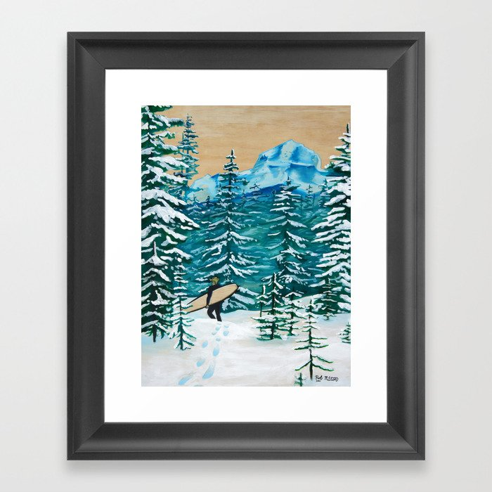 The Lost Surfer; Covered in Snow Framed Art Print