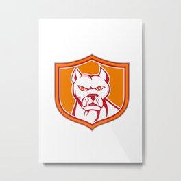 White Pitbull Dog Mongrel Head Shield Cartoon Metal Print