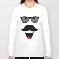 mustache Long Sleeve T-shirts featuring Mustache by siti fadillah
