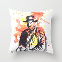 indiana Throw Pillows featuring Indiana Jones by idillard