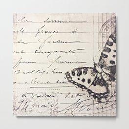 postal butterfly {b&w Metal Print