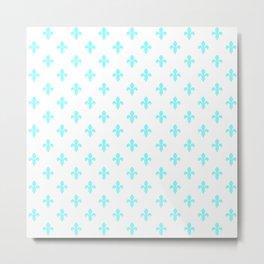 Fleur-de-Lis (Aqua & White Pattern) Metal Print