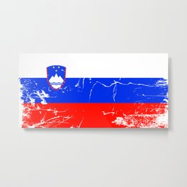 Slovenia flag with grunge effect Metal Print