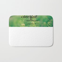 Lacey cheerful Proverbs 15 Bath Mat