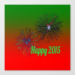 Happy 2015,green Canvas Print