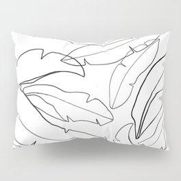 Black and White Banana Leaves Pillow Sham
