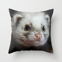 ferret Throw Pillows featuring Cute Ferret by TheDookingFerret