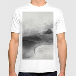 Time for Myself. Nude woman pencil and watercolor portrait T-shirt
