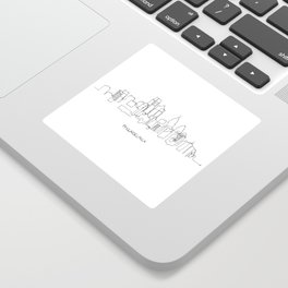 Philadelphia Skyline Drawing Sticker