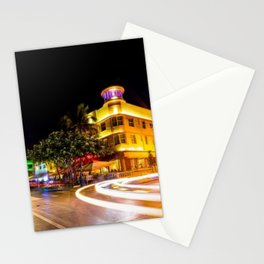 Art Deco Cardozo Hotel South Beach, Miami Night Scene Portrait by Jeanpaul Ferro Stationery Cards
