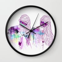 girls Wall Clocks featuring ▲GIRLS▲ by Kris Tate