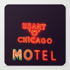 Heart 'O' Chicago Motel (Night) ~ vintage neon sign Canvas Print