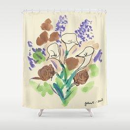 Bouquet of Calla Lillies by John E. Shower Curtain