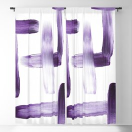 Purple Brush Strokes on White Blackout Curtain