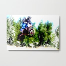 """Dare to Fly"" Motocross Racer Metal Print"