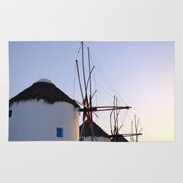 Famous Mykonos Windmills in Greece Rug