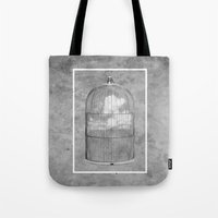 cage Tote Bags featuring Cloud Cage by Mehdi Elkorchi