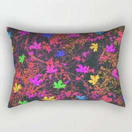 maple leaf in yellow green pink blue red with red and orange creepers plants background Rectangular Pillow