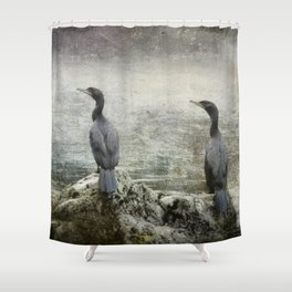 Two Cormorants Shower Curtain