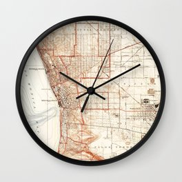Vintage Map of Redondo Beach & Torrance CA (1934) Wall Clock
