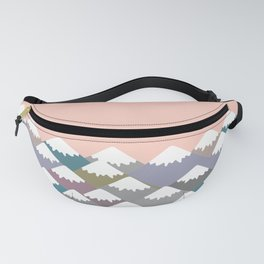 Nature background with Mountain landscape. Gray, pink, blue navy mountain with snow-capped peaks. Fanny Pack