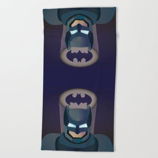 Bat man helmet fanart Beach Towel