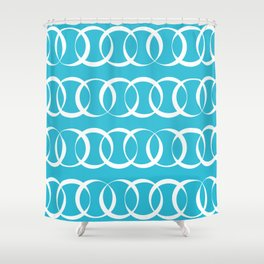 Sky blue and white elegant intersecting circles pattern Shower Curtain