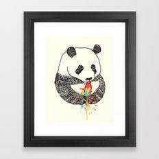Panda Loves Ice Cream Framed Art Print