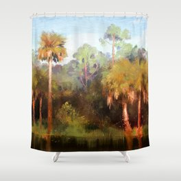 Moonrise over the Palms Shower Curtain