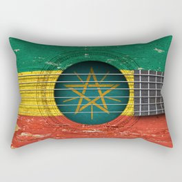 Old Vintage Acoustic Guitar with Ethiopian Flag Rectangular Pillow
