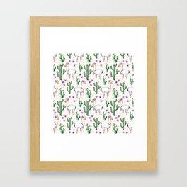 Llama Llamarama + Cactus Framed Art Print