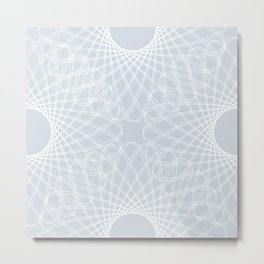 spirograph inspired pattern in white and a pale icy gray Metal Print