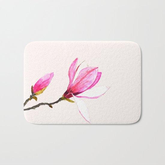 magnolia watercolor painting Bath Mat