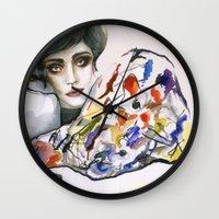 kandinsky Wall Clocks featuring Dressed in Kandinsky by Bruna Babic