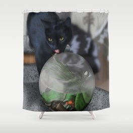 Black Kitty Cat with Fish in Fishbowl Shower Curtain
