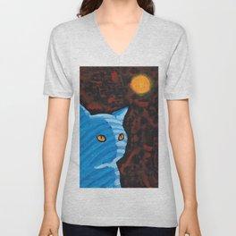 Tabby Cat Feeling Blue Unisex V-Neck