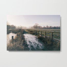 Track beside a fenced field on a frosty morning. Hilborough, Norfolk, UK. Metal Print