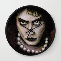 rocky horror picture show Wall Clocks featuring Untitled I by Rouble Rust