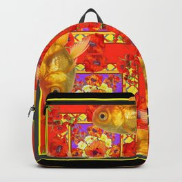 GOLD FISH & RED POPPIES GEOMETRIC BLACK ARTWORK Backpack
