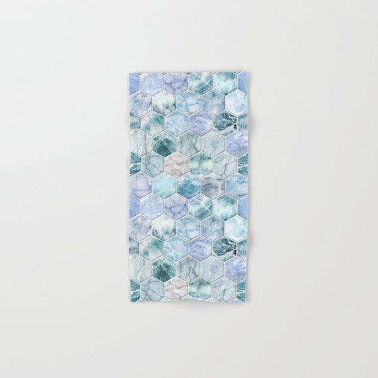 Ice Blue and Jade Stone and Marble Hexagon Tiles Hand & Bath Towel