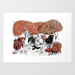 Little Red Riding Hood Print with wolf, forest Art Print