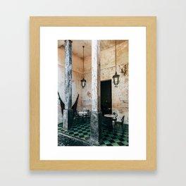 Coffee and frescoes in ex-hacienda in Mexico Framed Art Print