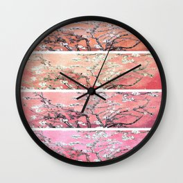 Vincent Van Gogh Almond Blossoms Panel Pink Peach Wall Clock