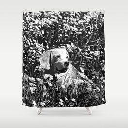 beagle dog flower field vector art black white Shower Curtain