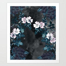 Night Garden Bees Wild Blackberry Art Print
